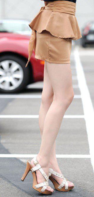Jupes crayon pour femmes Peplum Lace Up Bowknot Jupe courte Khaki