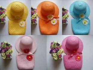 Atacado 2012 crianças chapéu / calor do verão, o chapéu de sol / meninas cap, bolsa por conjunto