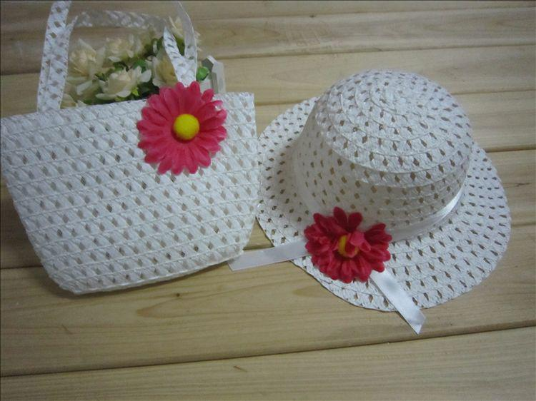 도매 2012 어린이 모자 / 여름 더위, 태양 모자 / 여자 모자, 핸드백 세트 당
