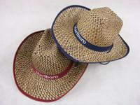 Wholesale Blue Straw Cowboy Hats - Fashion Man Sun Hats Summer West Cowboy Foldable Beach Headwear Panama Straw Hat Bucket Hat Men Free Shipping