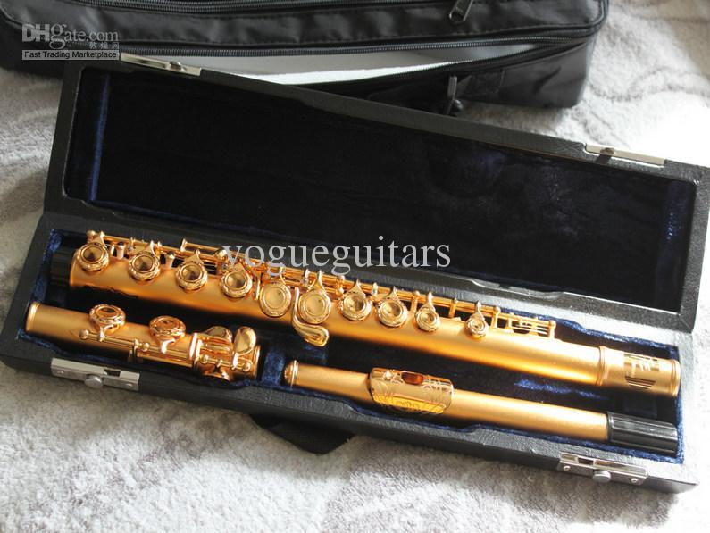 Wholesale- Professional Flute 무광택 골드 16 홀 조각 된 플루트 완벽한 CTE 케이스 포함