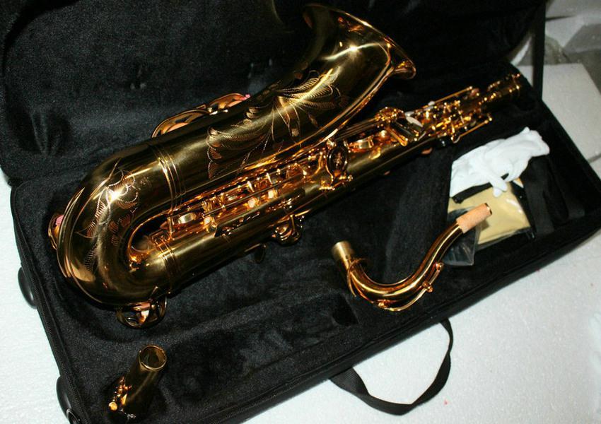 Partihandel-Ny bästa märke Golden Lacquer Tenor Saxofon Gratis frakt