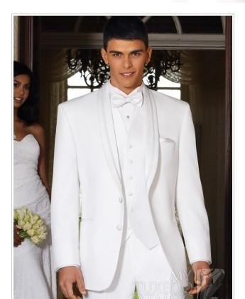 Custom White Two Button Groom Tuxedos Men'S Suits Groom Prom Suits ...