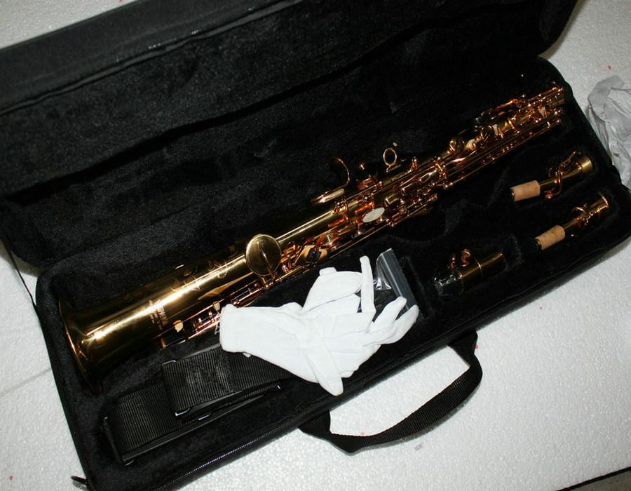 Högkvalitativ Straigh Golden Soprano Saxofon med Hardcase Gratis frakt