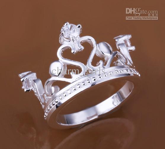 Envío gratis 925 chapado en plata 10 unids mosaico clásico anillo de la corona de cristal 8 # accesorios de plata de alta calidad LKNSPCR034