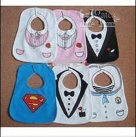 Wholesale Bib Tuxedo - ems free KIDS BLACK WHITE TUXEDO SUPERMAN BABY FEEDING BIBS EATING TOP #8631786