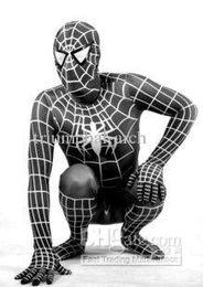 Wholesale Spandex Unitard Men - hot!! Halloween Lycra Spandex Spiderman zentai unitard Costume,S-XXXL,black,Lots 20pcs Free shipping