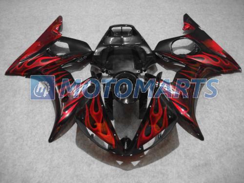 Röd flamma i svart kroppsfeoking kit för Yamaha YZF R6 2003 2004 2005 YZF-R6 03 04 05 YZFR6 600 03-05