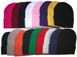 Wholesale Solid Cotton Beanie - Beanies Hats Hip-Hop winter Cotton knitted warm caps Snapback hat for man and women Skull Cap 20pcs mix color