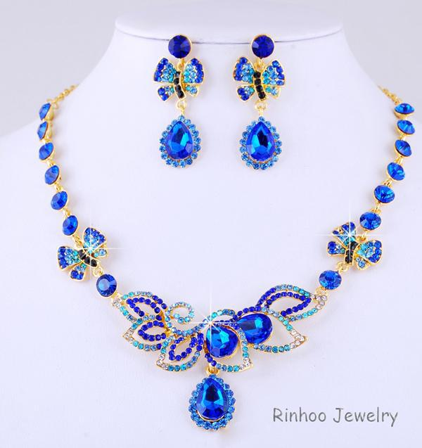 Blue Stunning Bridal Wedding Jewelry Sets Gold Plated Alloy