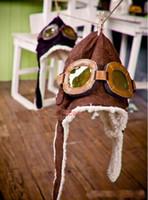 Wholesale Boys Cap Dandys - Children's Classic style caps, boys girls winter pilot glasses protection ear hats , 5pcs lot, dandys