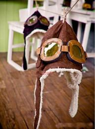 Wholesale Black Pilot Cap - Children's Classic style caps, boys girls winter pilot glasses protection ear hats , 5pcs lot, dandys