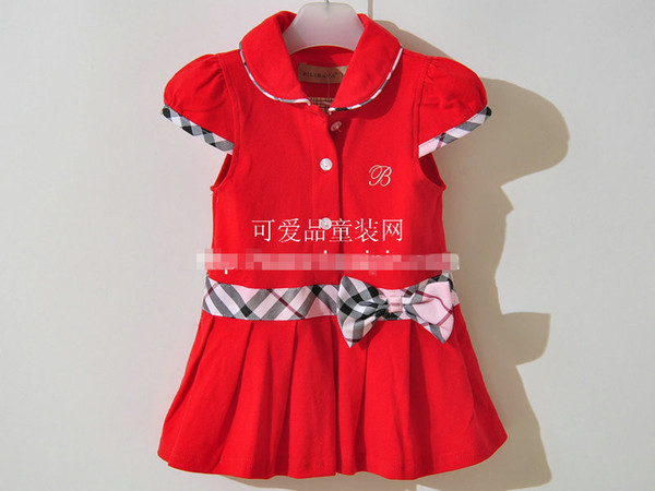 The cheapest !10pcs/lot EMS Girls dresses Pleated tennis dress belt girls clothes many color