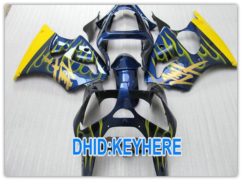 Carenado amarillo de la motocicleta azul de la llama para el kawasaki 2000 2001 2002 ZX6R ZX 6R 636 Ninja ZX636 00-02