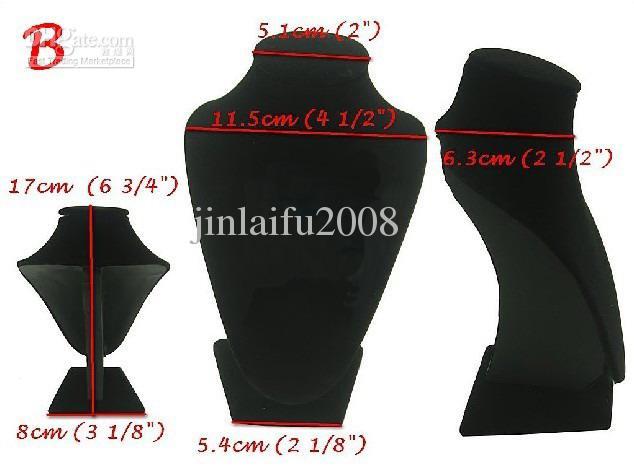 Suporte de exposição preto por atacado do busto da jóia da colar de veludo preto 6 PCS