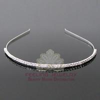Wholesale Silver Tone Headband - Bridal jewelry rhinestone headband single row crystal hairbands silver tone hair jewelry