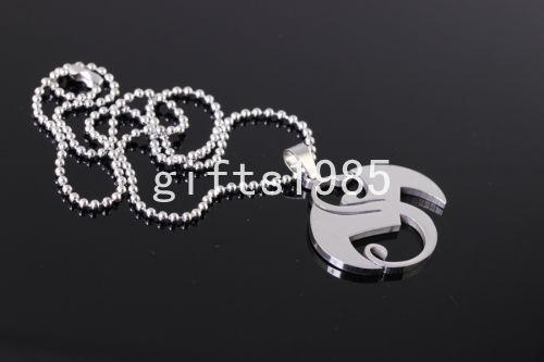 Large musique étrange charmes en acier inoxydable pendentif collier argent bijoux pour hommes