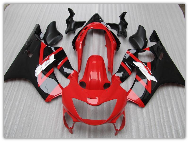 Personnalisez le kit moto de rechange gratuitement pour Honda CBR600 F4 1999 2000, CBR600 F4 99 00 carénages de moto RED noir pièces carrosserie + pare-brise