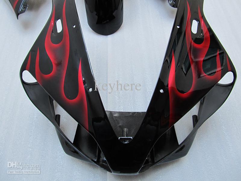 1 세트 ABS 모터 사이클 페어링 for YAMAHA R1 00 01 YZF-R1 2000 2001 레드 불꽃 Bodywork Fairings 세트