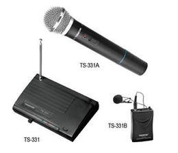 Wholesale Vhf Microphone System - Brand Takstar VHF TS-331B OR TS-331A Wireless Microphone System 1 transmitter 1 receiver Frequency Range 220MHz-270MHz Free shipping