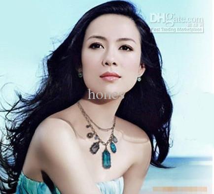 Fashion Jewelry Vintage Baroco style Necklace Man-made diamond necklace Sapphire necklace 15pcs G811