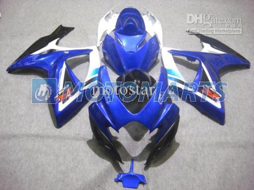 OEM 사출 성형 블루 화이트 바디 SUZUKI GSXR 600 750 K6 2006 2007 GSXR600 GSXR750 06 07 R600 R750 페어링 키트