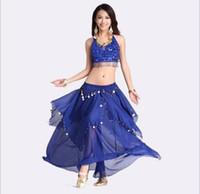 Wholesale Black Skirt Bra - Belly Dance Clothing Belly Dance Suit Belly Dance Performance Coat Five flower bra + Big Coins Skirt