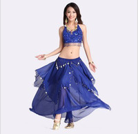Wholesale Belly Dance White Bra - Belly Dance Clothing Belly Dance Suit Belly Dance Performance Coat Five flower bra + Big Coins Skirt