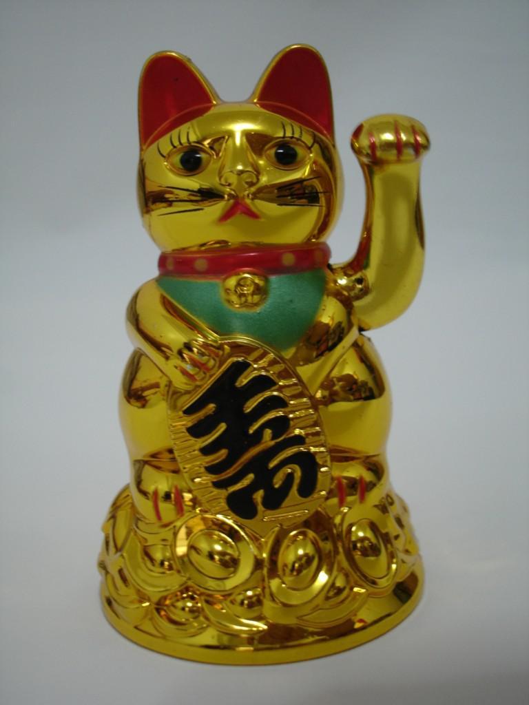 Glückliche Katze chinesisches Feng Shui, das Wealth Fortune Katze-wellenartig bewegende Hand Katzegold mit dem besten Geschenk des Kleinkastens winkt