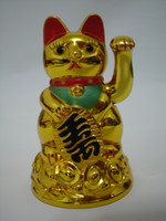 Wholesale Lucky Cat Waving - Maneki Neko Lucky cat Chinese Feng Shui Waving Wealth Fortune Cat Waving hand Cat gold top quality