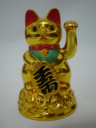 Wholesale Feng Shui Wealth - Maneki Neko Lucky cat Chinese Feng Shui Waving Wealth Fortune Cat Waving hand Cat gold top quality