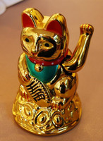 Wholesale feng shui wealth - Maneki Neko Lucky cat Chinese Feng Shui Waving Wealth Fortune Cat Waving hand Cat gold