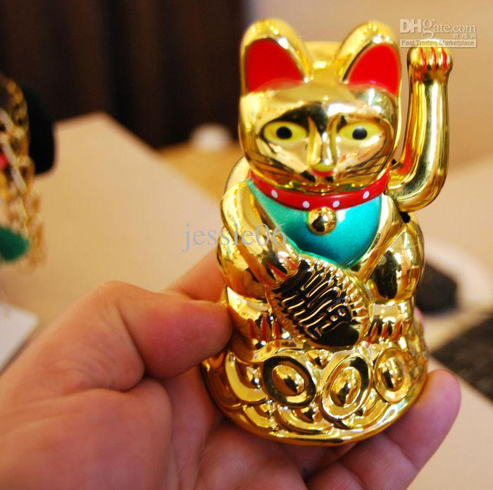Maneki Neko Lucky cat Chinois Feng Shui Waving Wealth Fortune Cat Agitant la main Cat or top qualité