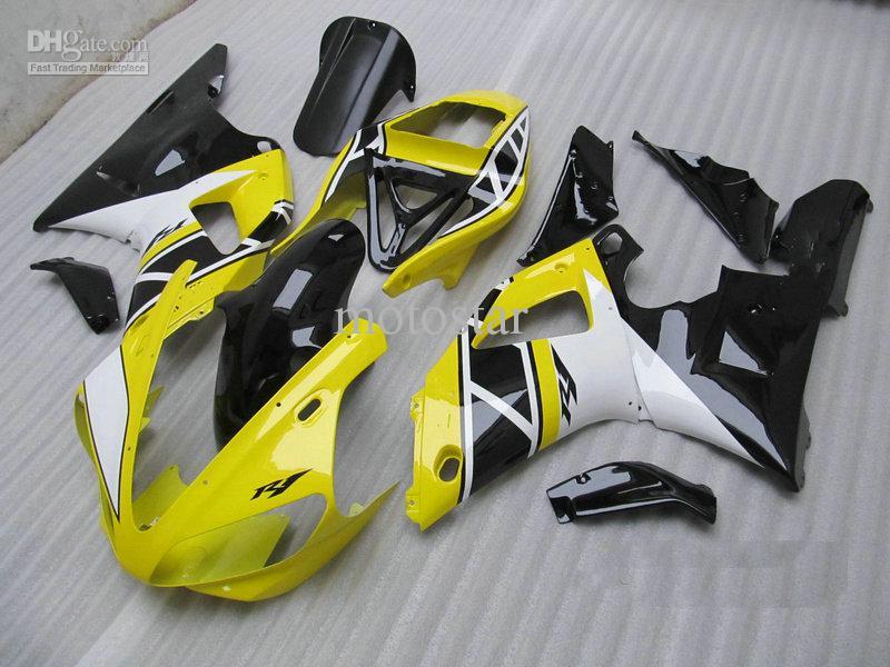 Gratis aangepaste gele carrosserie voor Yamaha YZF R1 2000 2001 YZFR1 00 01 YZF-R1 YZF1000 Fairing Kit
