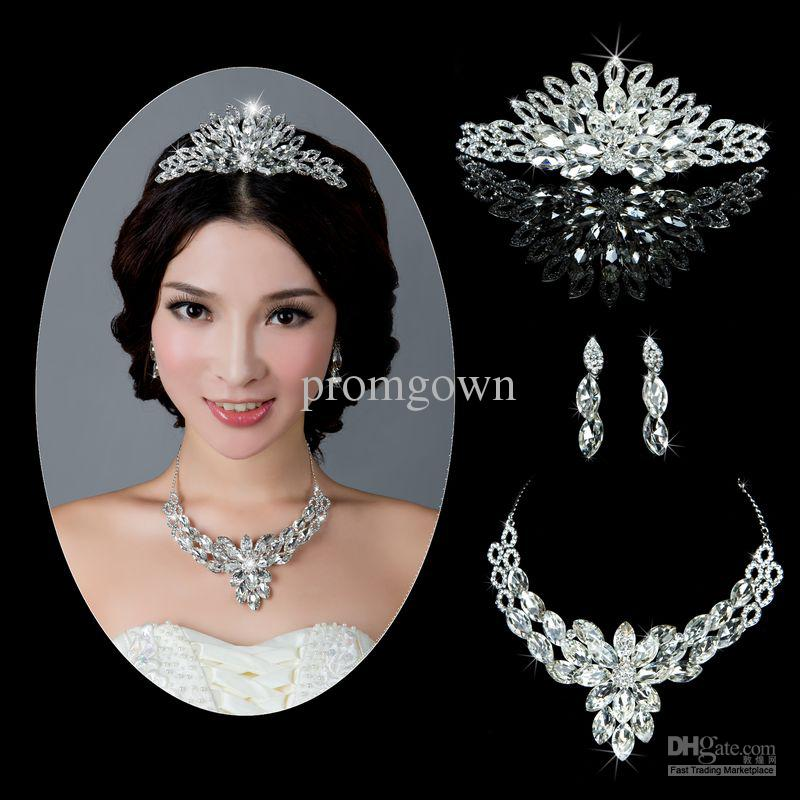 Beautiful Bride Jewelry Sets Wedding Jewelry Ornament Crown Sets For Wedding Party Dresses Pf046 Bridal Pearl Necklace Bride Hair Pieces From