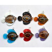 Wholesale Murano Glass Gold Pendant - Pendants mixed animal Fish Gold sand Italian handmade murano lampwork glass Jewelry necklace Pendant fit necklace