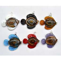 Wholesale Italian Pendant Gold - Pendants mixed animal Fish Gold sand Italian handmade murano lampwork glass Jewelry necklace Pendant fit necklace