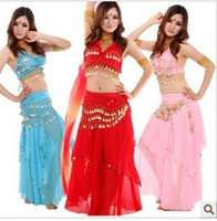 Wholesale Belly Dance Chiffon Skirts - Hot New Belly Dance Clothing Belly Dance Suit Belly Dance Performance Coat+ Hip Belt +Big Coins Skirt