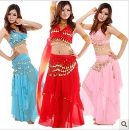 Wholesale Belly Hip Skirts - Hot New Belly Dance Clothing Belly Dance Suit Belly Dance Performance Coat+ Hip Belt +Big Coins Skirt