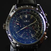 Wholesale automatic watch jaragar - Jaragar New arrvial Mens Fashion black dial blue glass AUTOMATIC MECHANICAL Watch