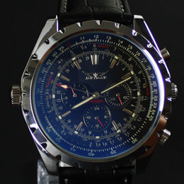 Wholesale New Jaragar Watches - Jaragar New arrvial Mens Fashion black dial blue glass AUTOMATIC MECHANICAL Watch