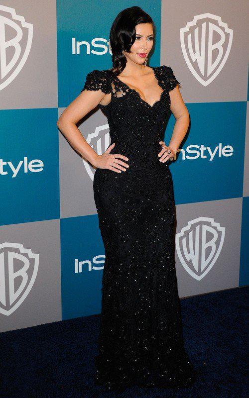 Kim Kardashian Mermaid Black Lace Celebrity Dresses