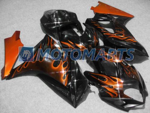 Orange Flame Street Bike Fairing Kit för Suzuki 2007 2008 GSXR1000 07-08 GSX-R1000 07 08 GSXR 1000