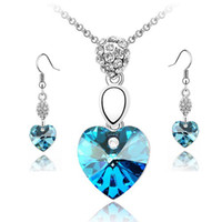 Wholesale peacock lovers - new fashion and free shipping Blue Crystal Love Heart Necklace Sets free shipping WORLD TOURISM DAY