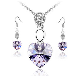 Wholesale Rose Earrings China - free shipping Purple,rose red, green,blue Crystal Heart Of Love Necklace Sets Valentine's Day black friday