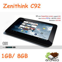 Wholesale Tablet Inch Cortex A9 - Zenithink ZT280 C92 Tablet PC 10inch Capacitive Android 4.0 Cortex A9 1GHz 1GB DDR3 8GB WiFi Camera