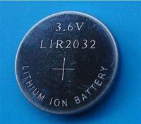 bateria de moedas recarregáveis venda por atacado-1000 pçs / lote, 3.6 v LIR2032 bateria botão recarregável, baterias de célula de moeda li-ion
