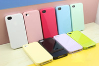Wholesale Wholesale Iphone 4s Backs Colors - 50pcs lot Candy Colorful soft TPU Silicone back cover Case for iP 4  4S 4g many colors
