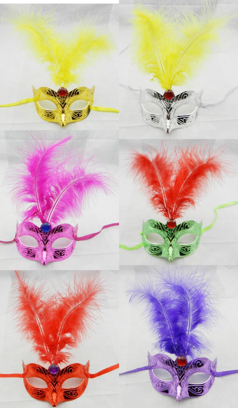 Feder-Diamant-Parteimaske der Halloween-Maske bunte überzogene Maskerademaskekarneval-Hip-Hop-Tanzkostüm-Mischungsfarbe freies Verschiffen