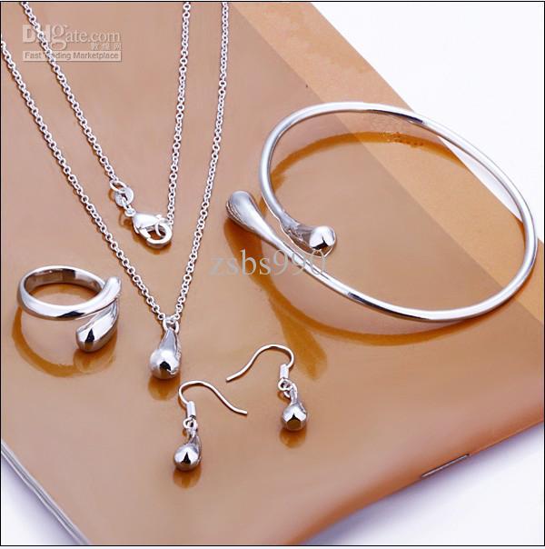 925 Sterling Silver Jewelry Set Drop Kolczyki Pierścienie Naszyjniki Charm Bransoletka Połączenie /